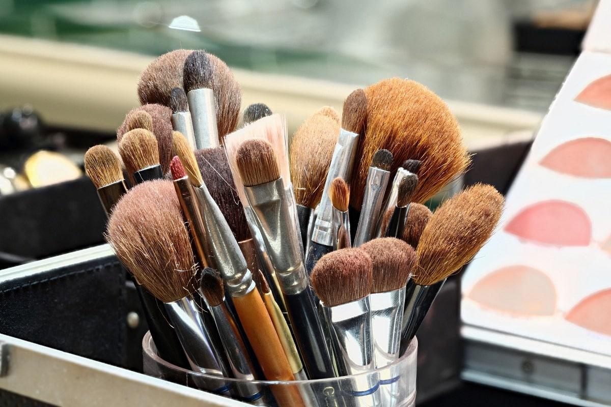 Forskellige makeup børster og pensler