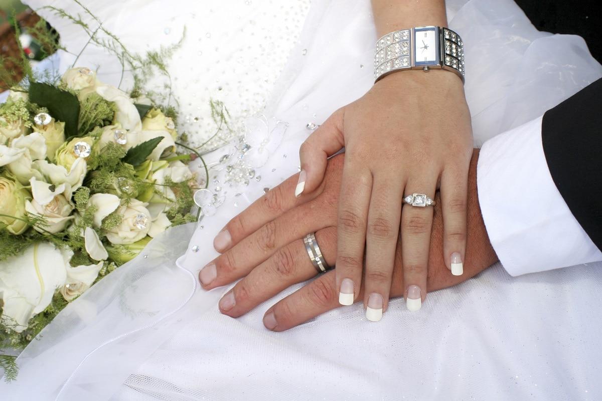 Bryllup med vielsesringe
