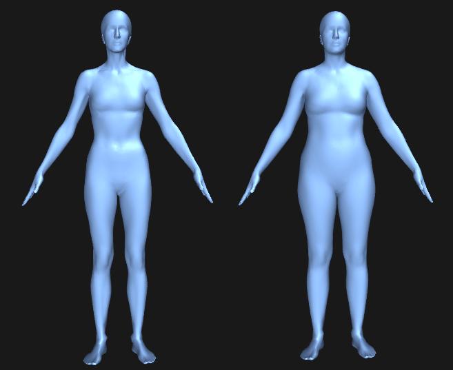 Visualisering af almindelig og plus size model